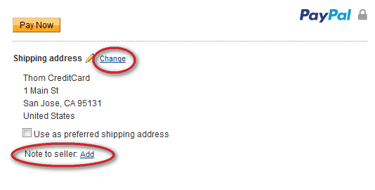 PayPal Shipping Address